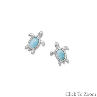 Blue Larimar Silver Setting Post Earrings 0.47 Inches