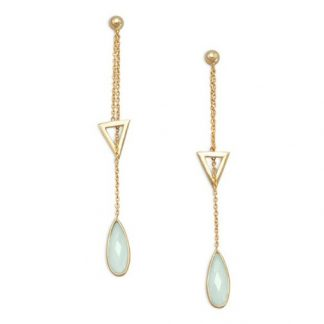 Green Chalcedony Gold Plated Drop Earrings 2.75 Inches
