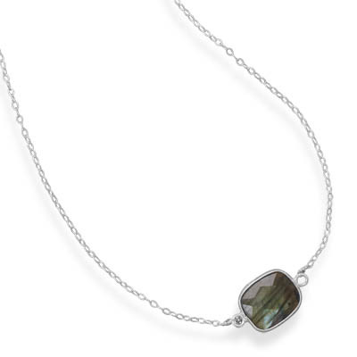 Gray Labradorite Silver Setting Contemporary Necklaces 18 Inches