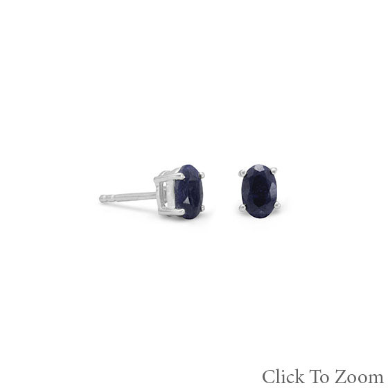 Blue Sapphire Silver Setting Classic Earrings 0.47 Inches