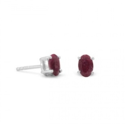 RUBY SILVER SETTING RED CLASSIC EARRINGS