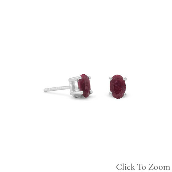 Red Ruby Silver Setting Classic Earrings 0.16 Inches