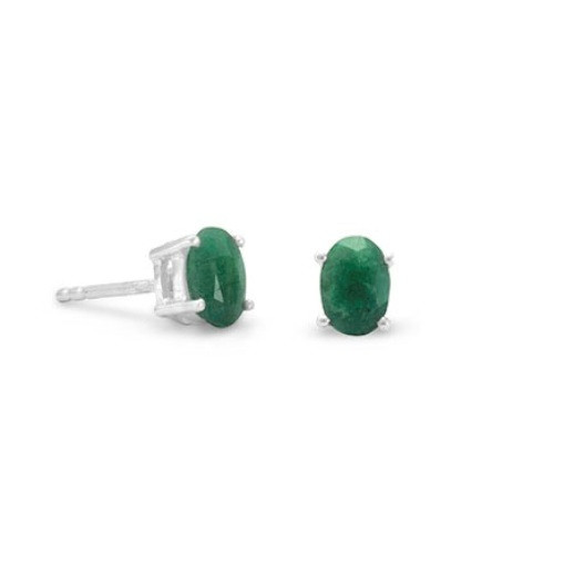EMERALD SILVER SETTING GREEN CLASSIC EARRINGS