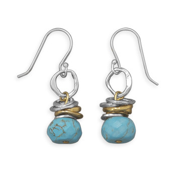 Blue Turquoise Beaded Drop Earrings 1.5 Inches