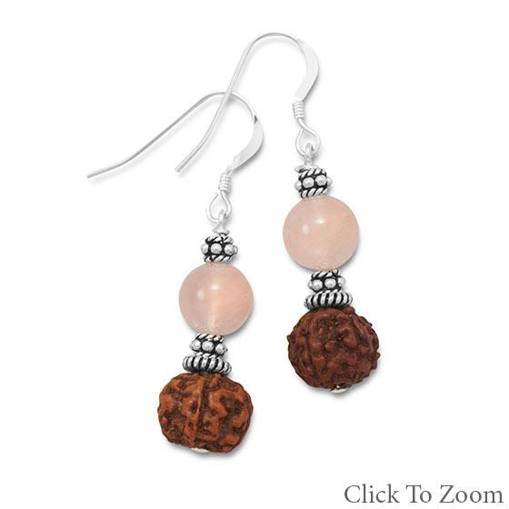 Pink Rose Quartz Beaded Drop Earrings 1.46 Inches