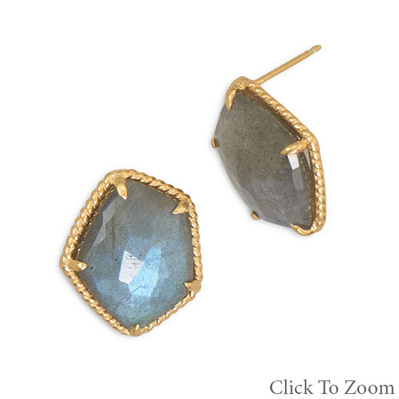 Gray Turquoise Gold Plated Earrings 3.7 Inches