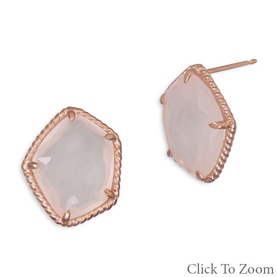 Pink Rose Quartz Gold Plated Post Earrings 0.7 Inches