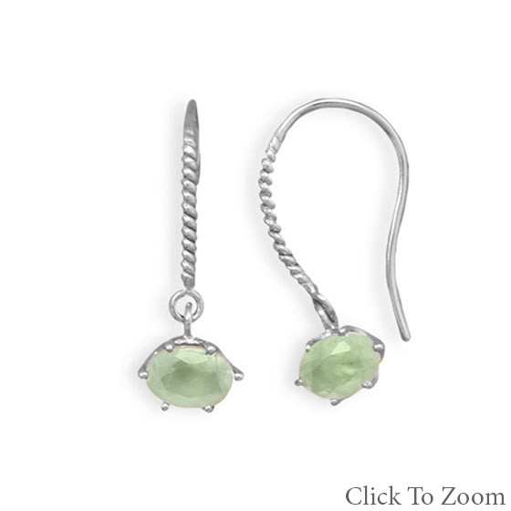 Green Prehnite Silver Setting Drop Earrings 0.9 Inches
