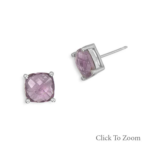 Purple Amethyst Silver Setting Post Earrings 0.31 Inches