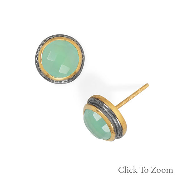 Green Chalcedony Gold Plated Post Earrings 0.43 Inches