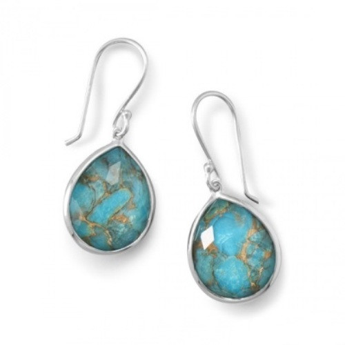 Blue Turquoise Silver Setting Earrings 1.3 Inches