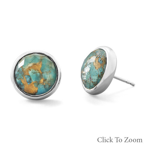 Green Turquoise Silver Setting Post Earrings 0.47 Inches
