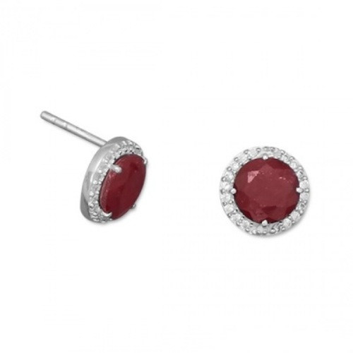 Red Ruby Silver Setting Post Earrings 0.39 Inches
