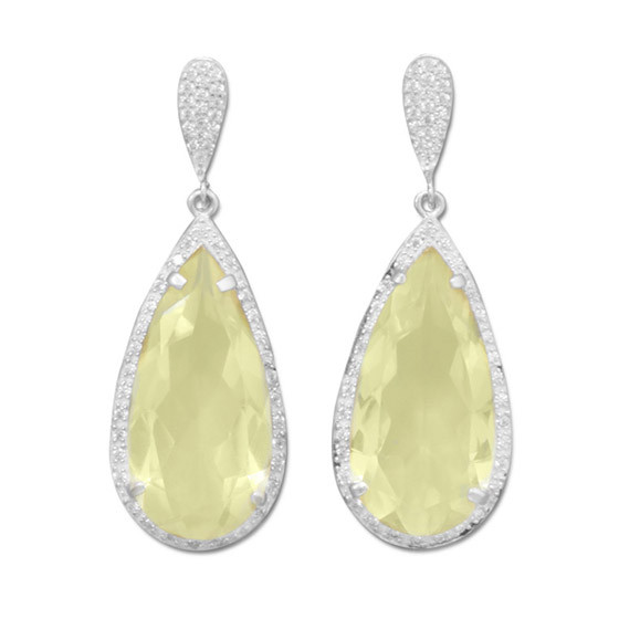 Yellow Lemon Quartz Silver Setting Post Earrings 0.39 Inches