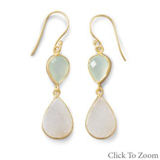 Multi-color Chalcedony Gold Plated Drop Earrings 1.75 Inches