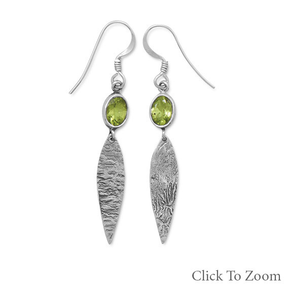 Green Peridot Silver Setting Drop Earrings 2.25 Inches