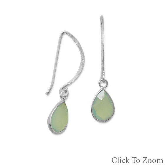 Green Chalcedony Silver Setting Earrings 1.33 Inches