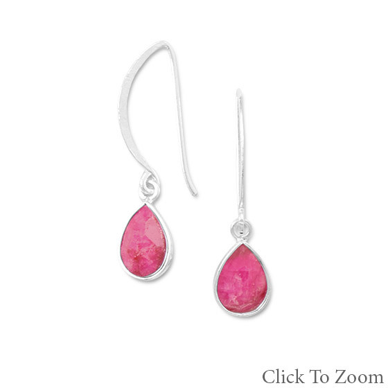 Red Ruby Silver Setting Drop Earrings 1.33 Inches