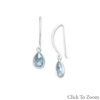 Blue Blue Topaz Silver Setting Drop Earrings 1.33 Inches
