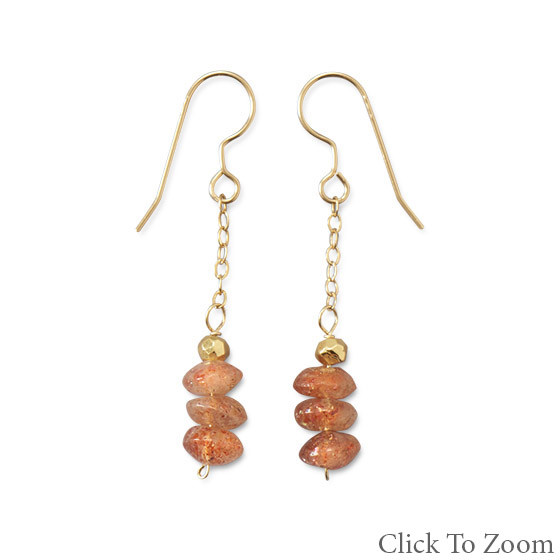 Orange Pyrite Beaded Drop Earrings 1.69 Inches