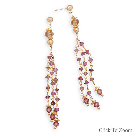 Multi-color Multi-stone Beaded Multistone Earrings 2.75 Inches