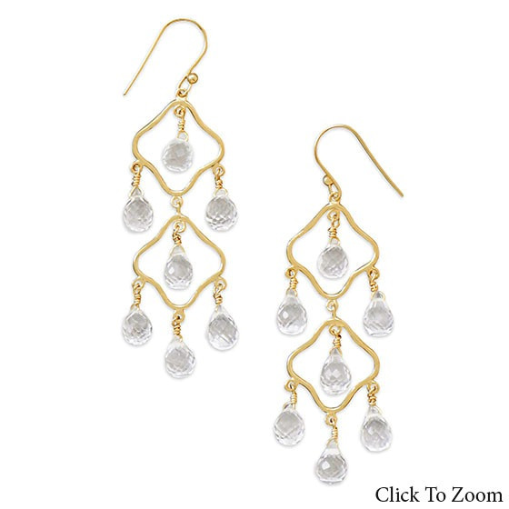 White Quartz Gold Plated Chandelier Earrings 2.5 Inches