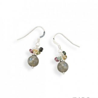 Multi-color Tourmaline Beaded Classic Earrings 1.1 Inches