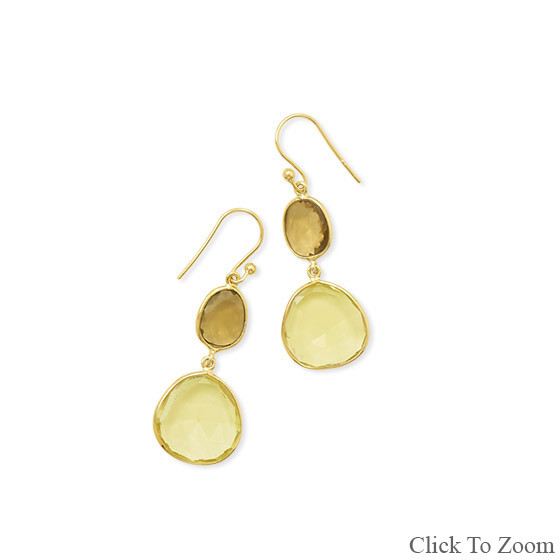 Yellow Lemon Quartz Gold Plated Drop Earrings 1.73 Inches