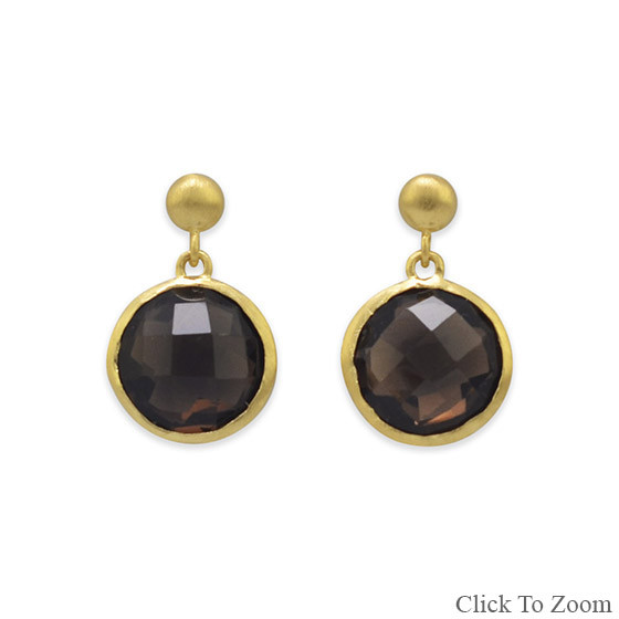 Brown Smoky Quartz Gold Plated Post Earrings 0.7 Inches