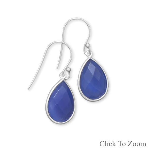 Blue Chalcedony Silver Setting Drop Earrings 1.18 Inches