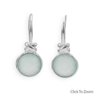 Green Chalcedony Silver Setting Drop Earrings 0.94 Inches