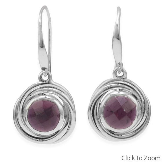Red Garnet Silver Setting Drop Earrings 1.06 Inches