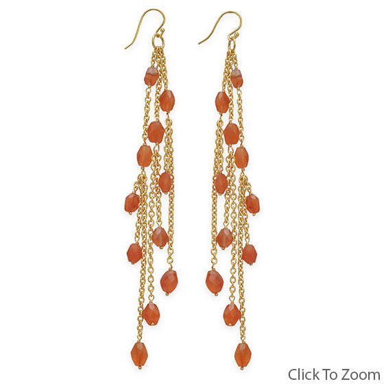 Orange Carnelian Gold Plated Cha-cha Earrings 5.75 Inches