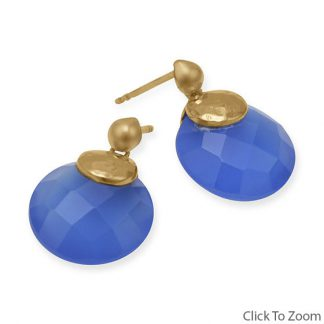 Blue Chalcedony Gold Plated Post Earrings 0.78 Inches