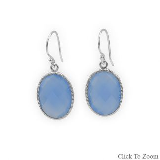 Blue Chalcedony Silver Setting Drop Earrings 1.22 Inches