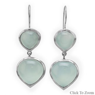 Green Chalcedony Silver Setting Drop Earrings 1.77 Inches