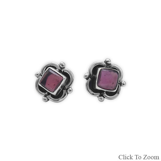 Red Garnet Silver Setting Studs Earrings 0.15 Inches