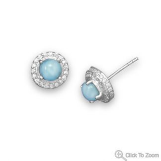 Blue Larimar Beaded Studs Earrings 0.39 Inches