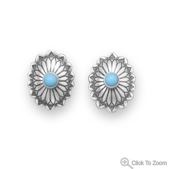 Blue Turquoise Silver Setting Post Earrings 0.47 Inches