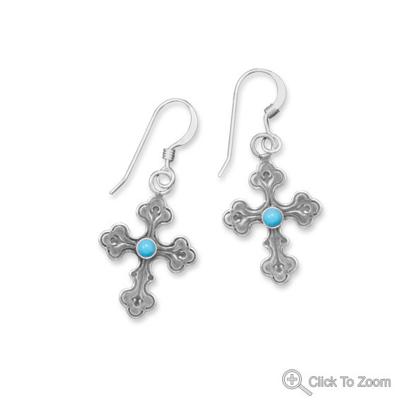 Blue Turquoise Silver Setting Earrings 1.29 Inches