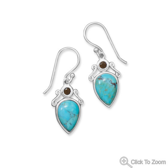 Blue Turquoise Silver Setting Drop Earrings 1.29 Inches