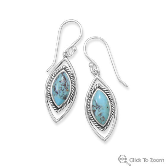 Blue Turquoise Silver Setting Earrings 1.57 Inches