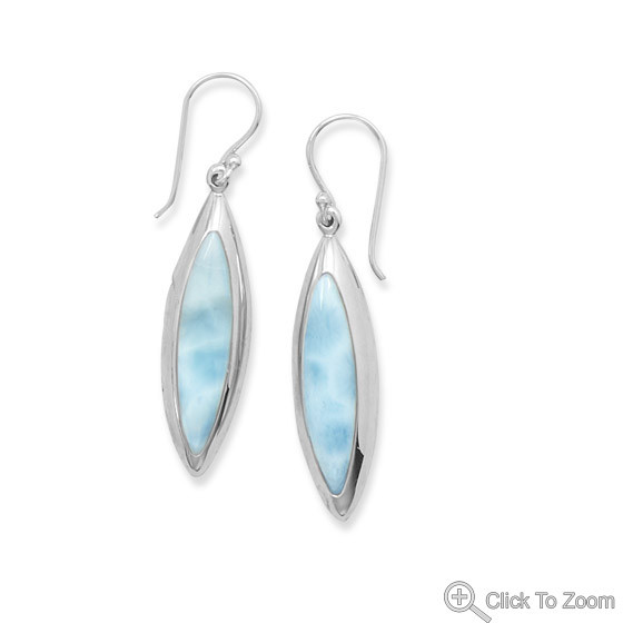 Blue Larimar Silver Setting Earrings 1.75 Inches