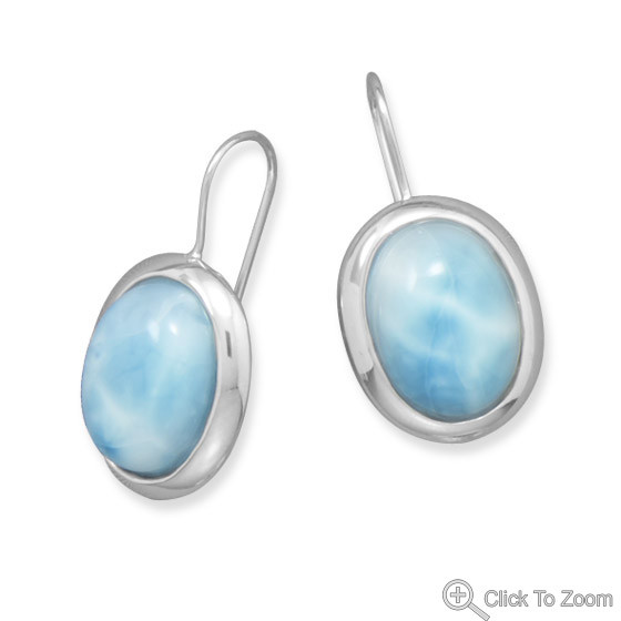 Blue Larimar Silver Setting Drop Earrings 1.18 Inches