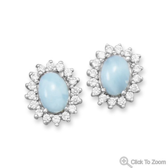Blue Larimar Silver Setting Studs Earrings 0.51 Inches