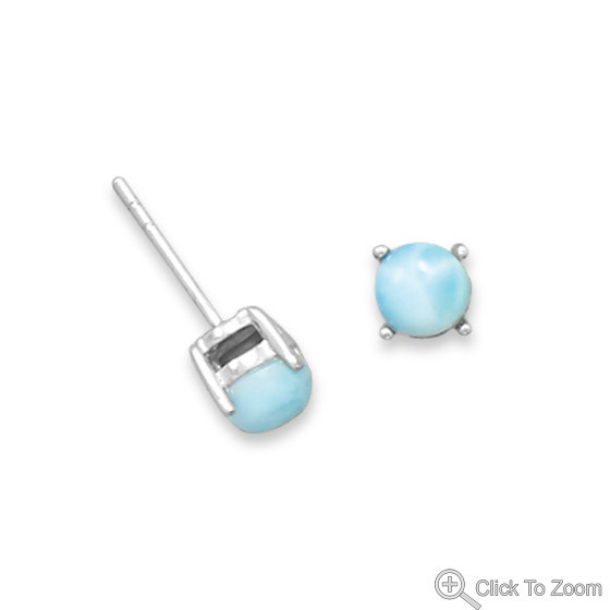 Blue Larimar Silver Setting Earrings 0.21 Inches