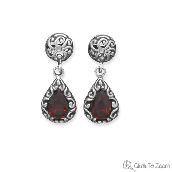 Red Garnet Silver Setting Drop Earrings 1.1 Inches
