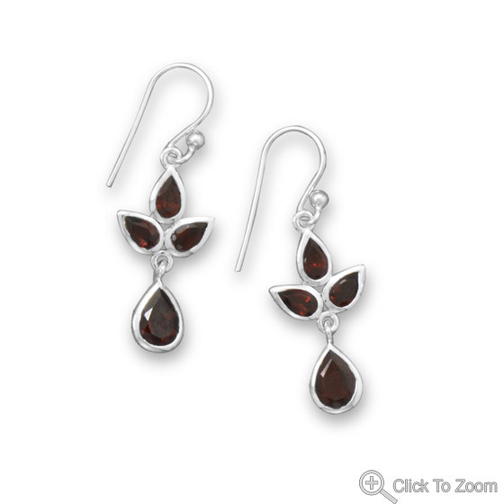 Red Garnet Silver Setting Drop Earrings 1.37 Inches