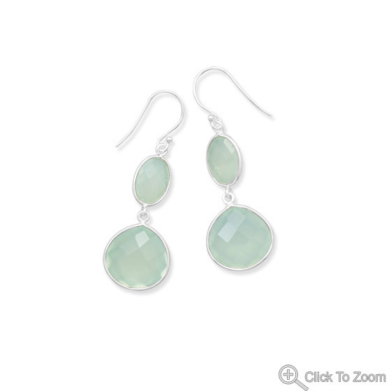 Green Chalcedony Silver Setting Drop Earrings 2 Inches