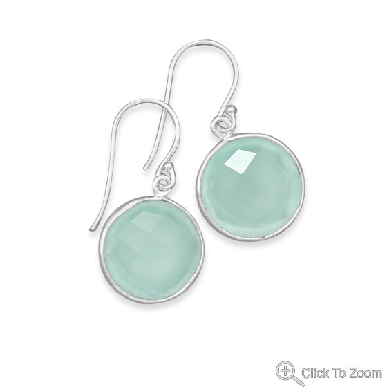 Green Chalcedony Silver Setting Drop Earrings 1.18 Inches